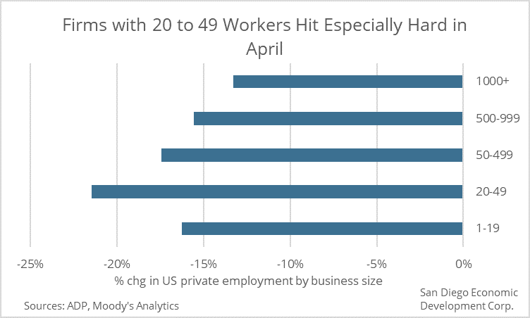 SDREDC bart chart shows small firms experienced largest job losses in April 2020