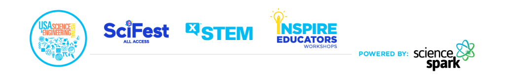 Logos for Science Spark's brands: USA Science and Engineering Festival, xSTEM, Inspire Educators